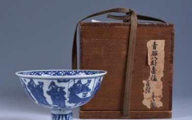 A Chinese blue and white 'Eighteen Scholars' stem cup