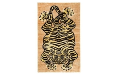 A FINE UNUSUAL TIGER DESIGN RUG