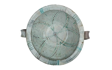 Little Basin Two hands basin in archaic majolica, with tight...