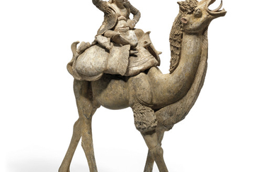 A MASSIVE PAINTED POTTERY FIGURE OF A CAMEL AND RIDER, TANG DYNASTY (618-907)