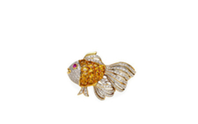 A sapphire, ruby and diamond fish brooch
