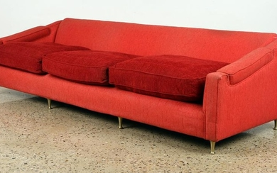 STYLISH UPHOLSTERED SOFA BRONZE LEGS C.1950