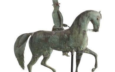 VERY FINE MOLDED SHEET COPPER AND ZINC HORSE AND RIDER WEATHERVANE, MASSACHUSETTS, CIRCA 1850