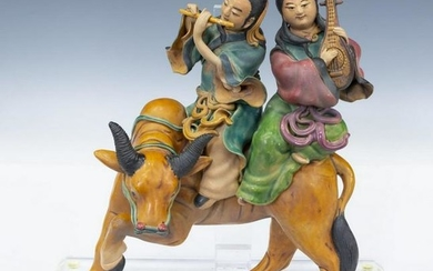 CHINESE PORCELAIN ROOF TILE, FIGURES ASTRIDE OX