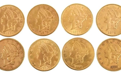 Eight Liberty Head Gold Double Eagle Coins