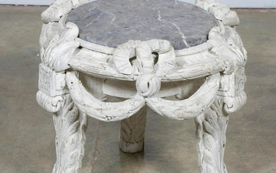 French Carved Wooden Marble Top Side Table