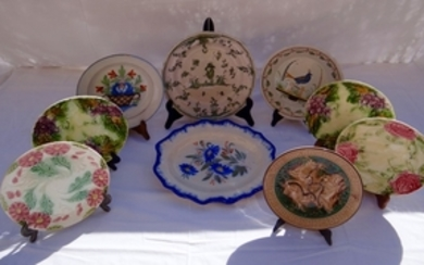 MISC. LOT OF 9 FRENCH PORC. AND TERRA COTTA PLATES
