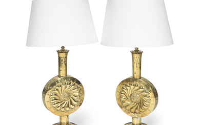 A pair of early 20th Century Continental repousse brass vase table lamps