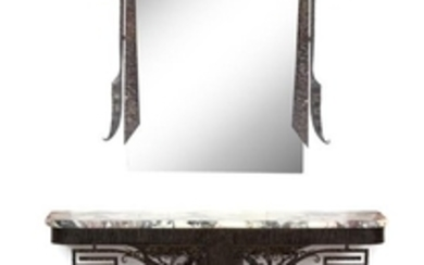 An Art Deco Iron Work and Marble Top Console Table with Mirror