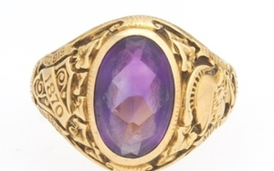 Tiffany & Co. Art Deco Gold and Amethyst Commemorative Hunter College NY Golden Jubilee Ring
