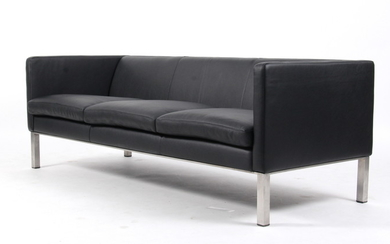 Erik Jørgensen. Three-seater sofa, leather, Model EJ 50.3K