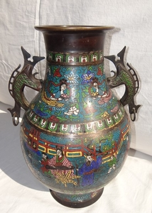 JAPANESE BRONZE AND CLOISONNE FOOTED VASE