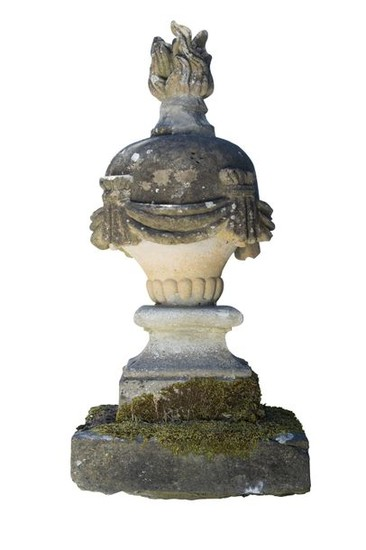 Pair of stone fire urns standing on square molded …