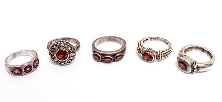 Sterling Silver Rings with Garnets, 5