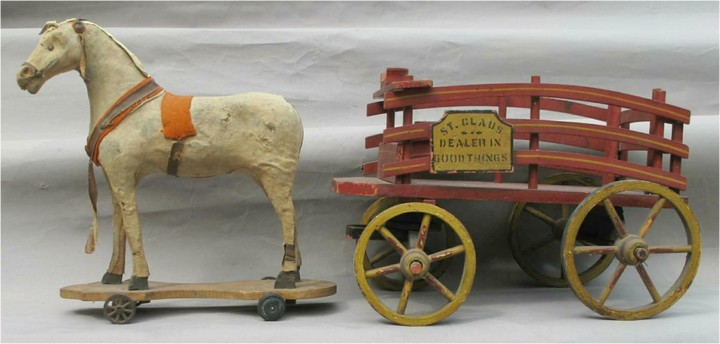 c1890s 'St. Claus Dealer In Good Things' Horse and Wagon cart By American Toy Co. FR3SH