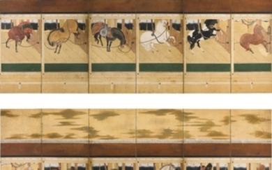 ANONYMOUS STABLE WITH FINE HORSES EDO PERIOD, LATE 17TH CENTURY