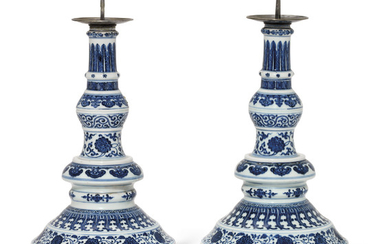 A RARE PAIR OF LARGE MING-STYLE BLUE AND WHITE CANDLESTICKS, 18TH CENTURY