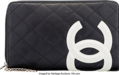 16040: Chanel Black & White Quilted Lambskin Leather Wa