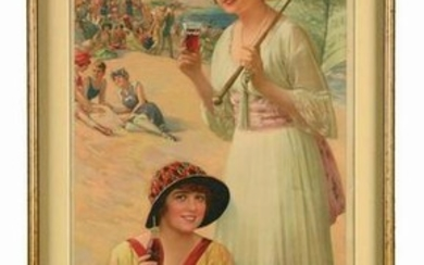 1918 COCA-COLA GIRLS ON BEACH ADVERTISING CALENDAR.