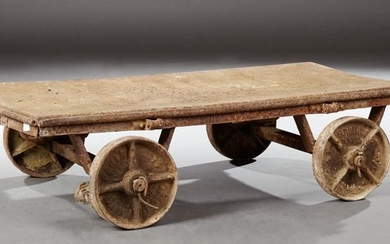 French Cast Iron Moving Dolly, with iron wheels, H.- 9