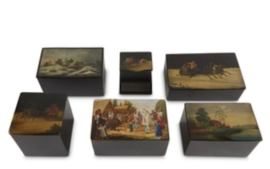 A group of six Russian lacquer boxes Vishnyakov Factory,...