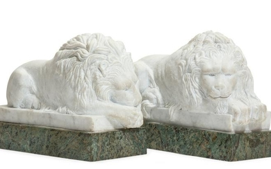 Pair of marble models of recumbent lions, Canova