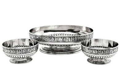 SUITE OF THREE ANTIQUE VICTORIAN SILVER DISHES WITH