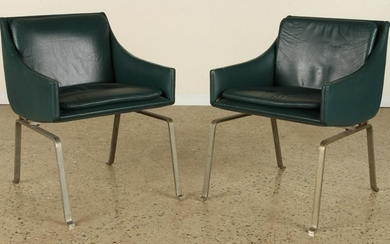 PAIR LEATHER STEEL CHAIRS POSSIBLY POUL KJAERHOLM