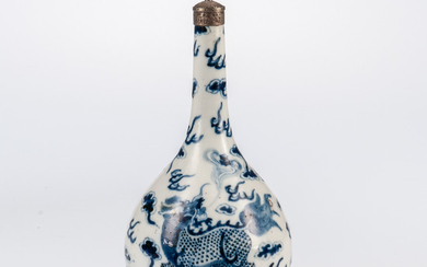 Blue and White Bottle with Metal Stopper
