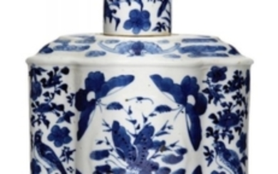 A Chinese porcelain lobed tea cannister and...