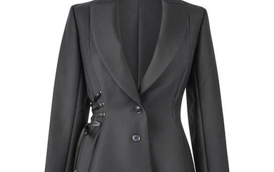 Christian Dior Jacket One Side Lace Up Black Shaped