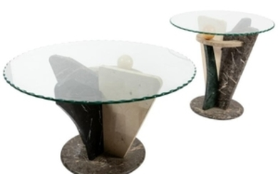 Deco Style Marble Tables - Pair