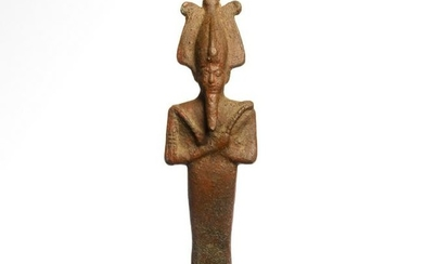 Egyptian Bronze Figure of Osiris with Plumed Atef Crown