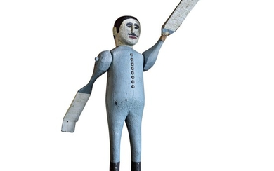 EXCEPTIONAL CARVED AND PAINTED WOOD AND IRON WHIRLIGIG SCULPTURE OF A MAN IN LONG JOHNS, PENNSYLVANIA, CIRCA 1900