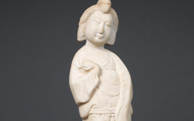 A fine and rare white marble figure of a court lady