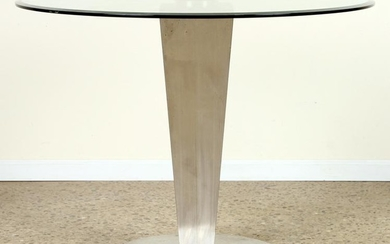 MODERN BRUSHED STEEL TABLE BASE BEVELED GLASS TOP