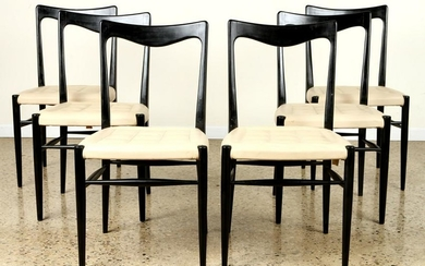 SET 6 MID CENTURY MODERN EBONIZED DINING CHAIRS