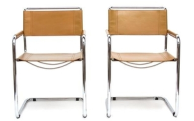A Set of Six Italian Leather and Chrome Armchairs