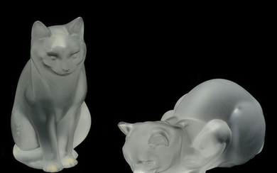 Two Lalique Frosted Crystal Cats.