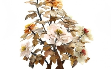 A Vintage Chinese Hardstone Tree with Flowers