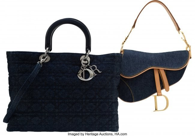58340: Christian Dior Set of Two: Denim Saddle Bag & La