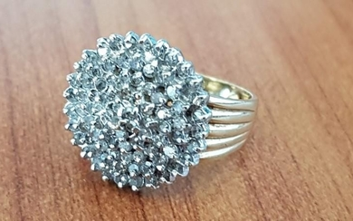 Gold and Diamond Cluster Ring, Total Weight Approx. 5.8, Siz...