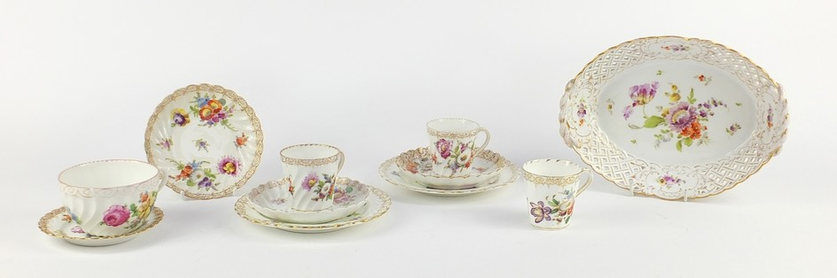 German porcelain hand painted with flowers by Dresden, compr...