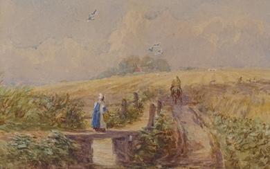 Attributed to David Cox, 2 19th century watercolours, landsc...