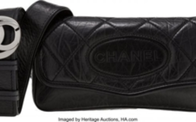 16041: Chanel Black Aged Quilted Lambskin Leather Cross
