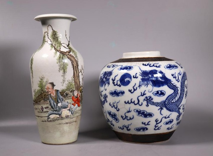 2 Chinese Porcelains Dragon Jar Enameled Vase