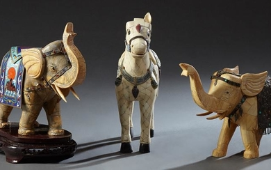 Group of Three Chinese Segmented Bone Overlay Animals,