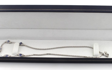 18ct (clasp is marked 375) White Gold Diamond and Sapphire s...