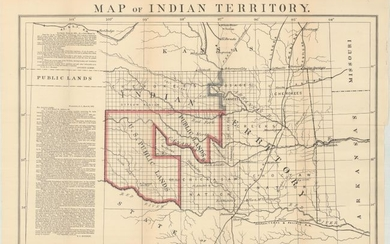 """The First Designation of Public Lands, """"Map of Indian Territory"""", Boudinot, E. C."""