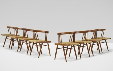 George Nakashima, Grass-Seated chairs, set of eight